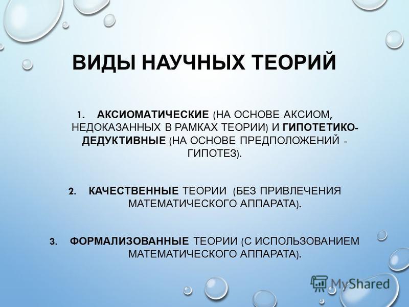ВИДЫ НАУЧНЫХ ТЕОРИЙ 1. АКСИОМАТИЧЕСКИЕ ( НА ОСНОВЕ АКСИОМ, НЕДОКАЗАННЫХ В РАМКАХ ТЕОРИИ ) И ГИПОТЕТИКО - ДЕДУКТИВНЫЕ ( НА ОСНОВЕ ПРЕДПОЛОЖЕНИЙ - ГИПОТЕЗ ). 2. КАЧЕСТВЕННЫЕ ТЕОРИИ ( БЕЗ ПРИВЛЕЧЕНИЯ МАТЕМАТИЧЕСКОГО АППАРАТА ). 3. ФОРМАЛИЗОВАННЫЕ ТЕОРИИ