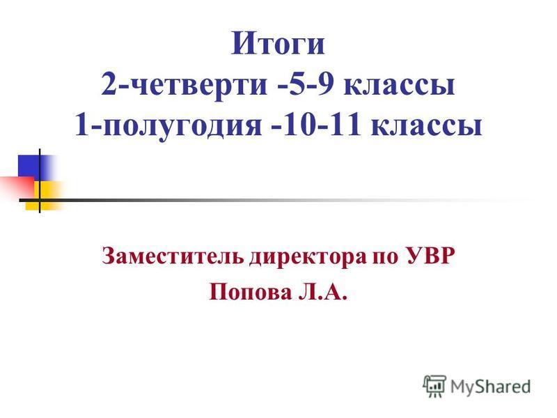 Итоги 2-четверти -5-9 классы 1-полугодия -10-11 классы Заместитель директора по УВР Попова Л.А.