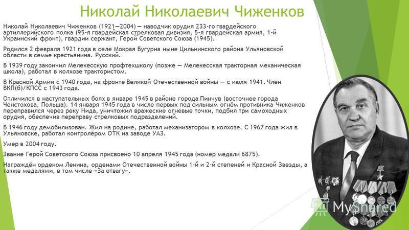 Николай Николаевич Чиженков Николай Николаевич Чиженков (19212004) наводчик орудия 233-го гвардейского артиллерийского полка (95-я гвардейская стрелковая дивизия, 5-я гвардейская армия, 1-й Украинский фронт), гвардии сержант, Герой Советского Союза (