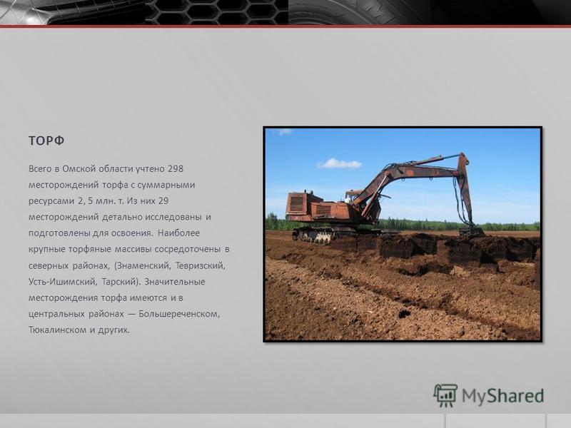 ТОРФ Всего в Омской области учтено 298 месторождений торфа с суммарными ресурсами 2, 5 млн. т. Из них 29 месторождений детально исследованы и подготовлены для освоения. Наиболее крупные торфяные массивы сосредоточены в северных районах, (Знаменский,