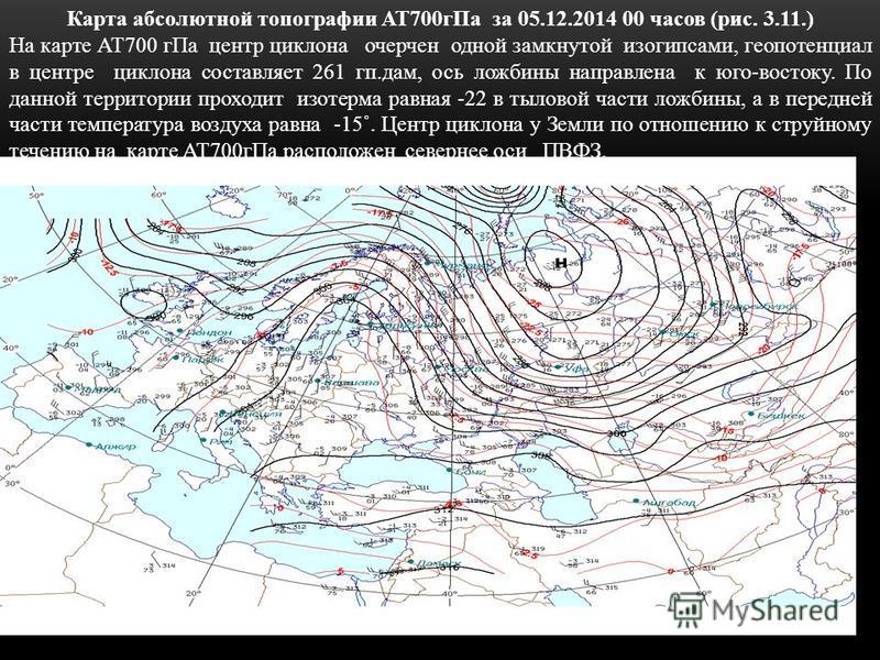 Карта абсолютной топографии АТ700 г Па за 05.12.2014 00 часов (рис. 3.11.) На карте АТ700 г Па центр циклона очерчен одной замкнутой изогипсами, геопотенциал в центре циклона составляет 261 кп.дам, ось ложбины направлена к юго-востоку. По данной терр