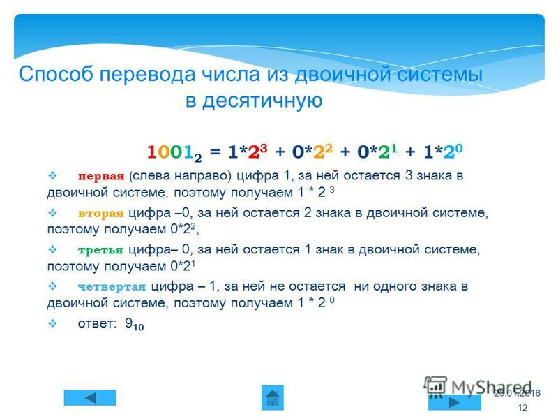 23.01.2016 Способ перевода числа из двоичной системы в десятичную 1001 2 = 1*2 3 + 0*2 2 + 0*2 1 + 1*2 0 первая ( слева направо) цифра 1, за ней остается 3 знака в двоичной системе, поэтому получаем 1 * 2 3 вторая цифра – 0, за ней остается 2 знака в