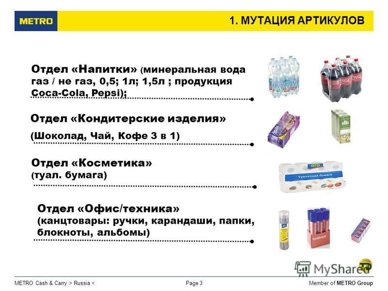 Member of METRO GroupMETRO Cash & Carry > Russia < 1. МУТАЦИЯ АРТИКУЛОВ Отдел «Кондитерские изделия» (Шоколад, Чай, Кофе 3 в 1) Page 3 Отдел «Напитки» ( минеральная вода газ / не газ, 0,5; 1 л; 1,5 л ; продукция Coca-Cola, Pepsi); Отдел «Косметика» (