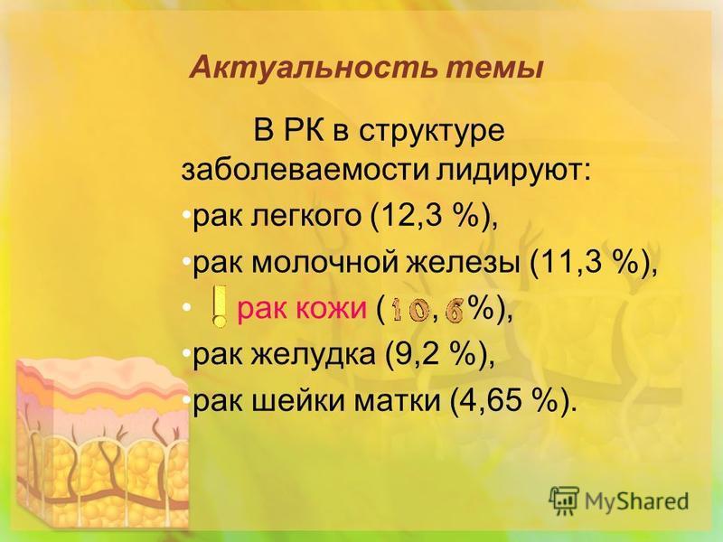 Актуальность темы В РК в структуре заболеваемости лидируют: рак легкого (12,3 %), рак молочной железы (11,3 %), рак кожи (, %), рак желудка (9,2 %), рак шейки матки (4,65 %).