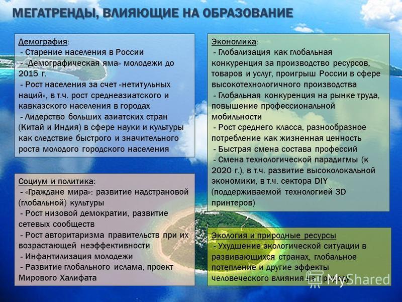 МЕГАТРЕНДЫ, ВЛИЯЮЩИЕ НА ОБРАЗОВАНИЕ Демография: - Старение населения в России - «Демографическая яма» молодежи до 2015 г. - Рост населения за счет «нетитульных наций», в т.ч. рост среднеазиатского и кавказского населения в городах - Лидерство больших