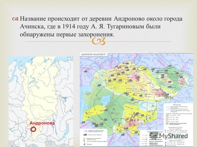 Название происходит от деревни Андроново около города Ачинска, где в 1914 году А. Я. Тугариновым были обнаружены первые захоронения.