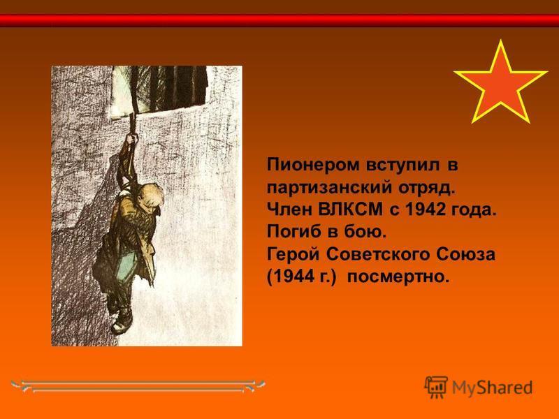 Пионером вступил в партизанский отряд. Член ВЛКСМ с 1942 года. Погиб в бою. Герой Советского Союза (1944 г.) посмертно.