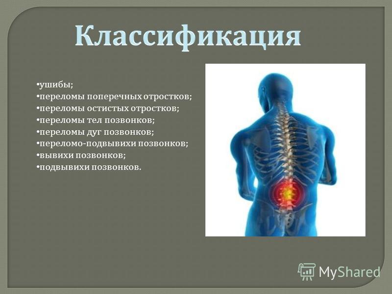 ушибы ; переломы поперечных отростков ; переломы остистых отростков ; переломы тел позвонков ; переломы дуг позвонков ; перелома - подвывихи позвонков ; вывихи позвонков ; подвывихи позвонков.
