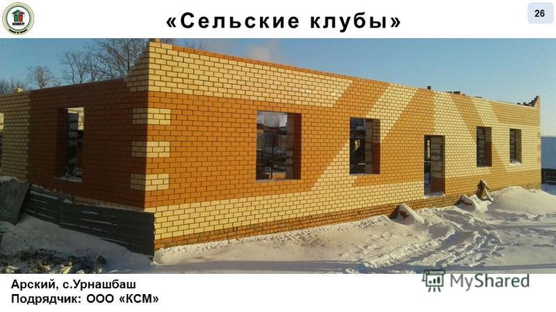 Арский, с.Урнашбаш Подрядчик: ООО «КСМ» 26 «Сельские клубы»