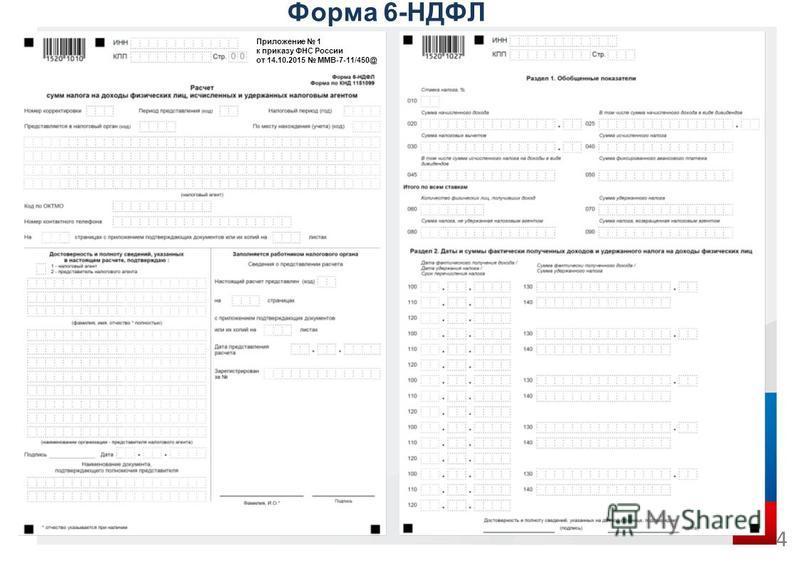 Форма 6-НДФЛ 4 Приложение 1 к приказу ФНС России от 14.10.2015 ММВ-7-11/450@