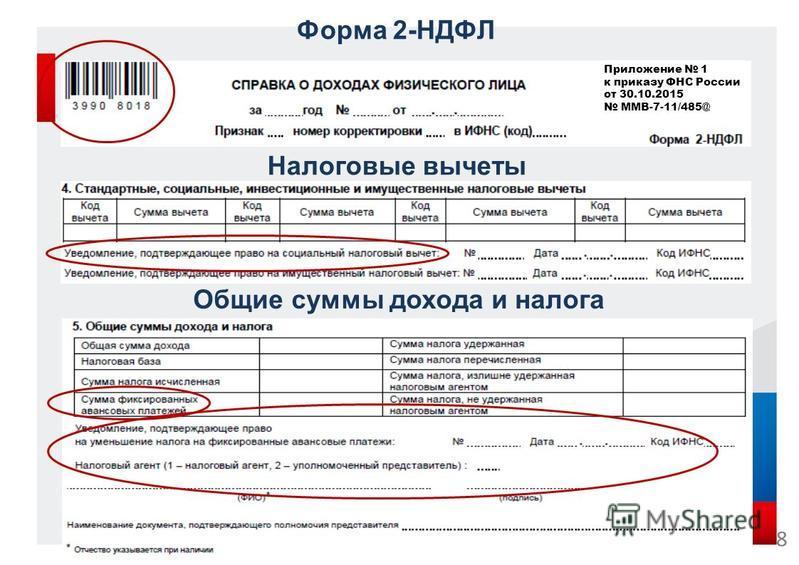 Форма 2-НДФЛ Налоговые вычеты Общие суммы дохода и налога 8 Приложение 1 к приказу ФНС России от 30.10.2015 ММВ-7-11/485@