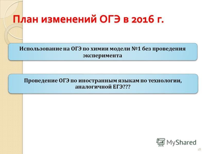 План изменений ОГЭ в 2016 г. Проведение ОГЭ по иностранным языкам по технологии, аналогичной ЕГЭ??? Использование на ОГЭ по химии модели 1 без проведения эксперимента 18