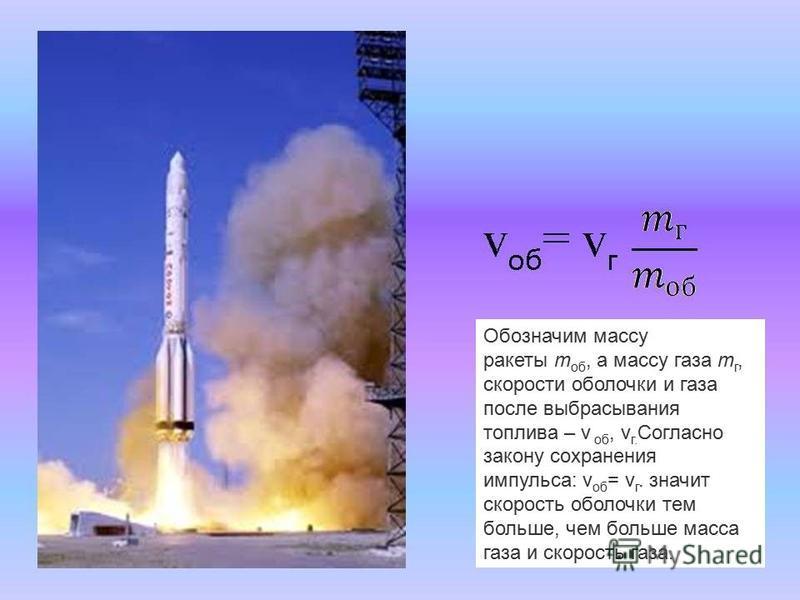 Обозначим массу ракеты m об, а массу газа m г, скорости оболочки и газа после выбрасывания топлива – v об, v г. Cогласно закону сохранения импульса: v об = v г. значит скорость оболочки тем больше, чем больше масса газа и скорость газа.