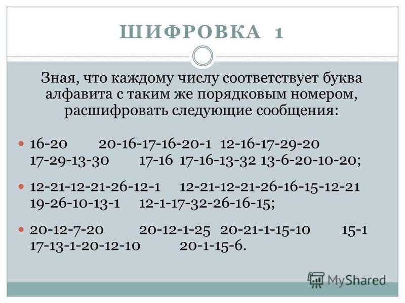 ШИФРОВКА 1 Зная, что каждому числу соответствует буква алфавита с таким же порядковым номером, расшифровать следующие сообщения: 16-2020-16-17-16-20-112-16-17-29-20 17-29-13-3017-1617-16-13-3213-6-20-10-20; 12-21-12-21-26-12-112-21-12-21-26-16-15-12-