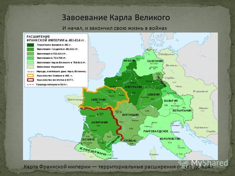 Завоевание Карла Великого И начал, и закончил свою жизнь в войнах Карта Франкской империи территориальные расширения от 481 до 814 г