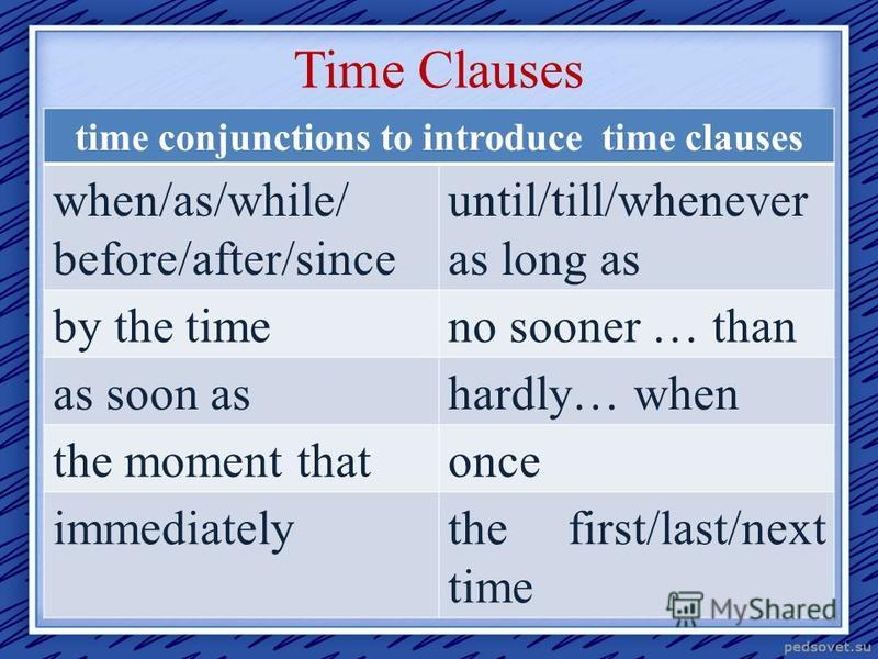Time Clauses time conjunctions to introduce time clauses when/as/while/ before/after/since until/till/whenever as long as by the timeno sooner … than as soon ashardly… when the moment thatonce immediatelythe first/last/next time