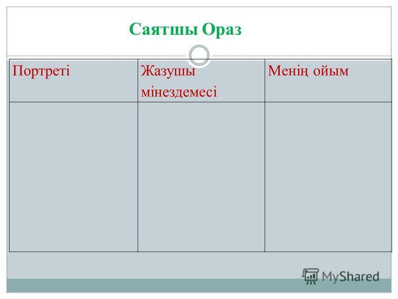 Портреті Жазушы мінездемесі Менің ойым Саятшы Ораз