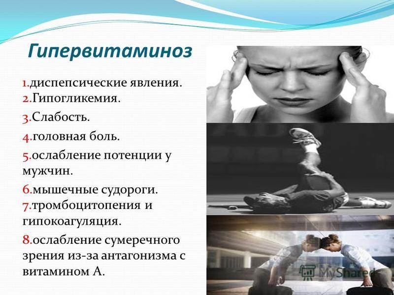 Гипервитаминоз 1. диспепсические явления. 2.Гипогликемия. 3.Слабость. 4. головная боль. 5. ослабление потенции у мужчин. 6. мышечные судороги. 7. тромбоцитопения и гипокоагуляция. 8. ослабление сумеречного зрения из-за антагонизма с витамином А.
