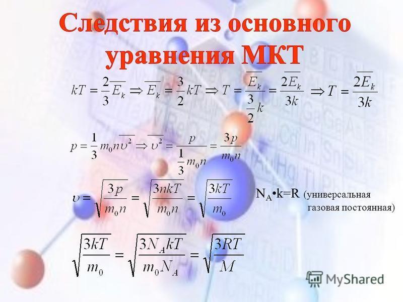 N A k=R (универсальная газовая постоянная)