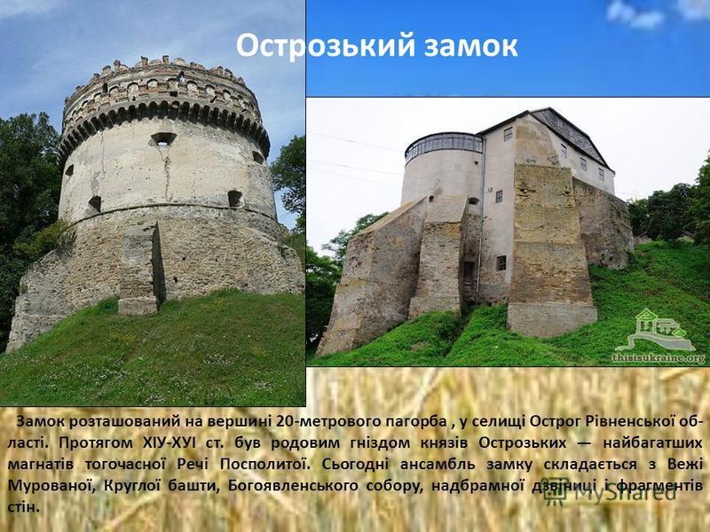 Замок розташований на вершині 20-метрового пагорба, у селищі Острог Рівненської об ласті. Протягом ХІУ-ХУІ ст. був родовим гніздом князів Острозьких найбагатших магнатів тогочасної Речі Посполитої. Сьогодні ансамбль замку складається з Вежі Мурован