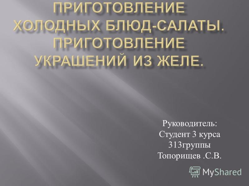 Руководитель : Студент 3 курса 313 группы Топорищев. С. В.