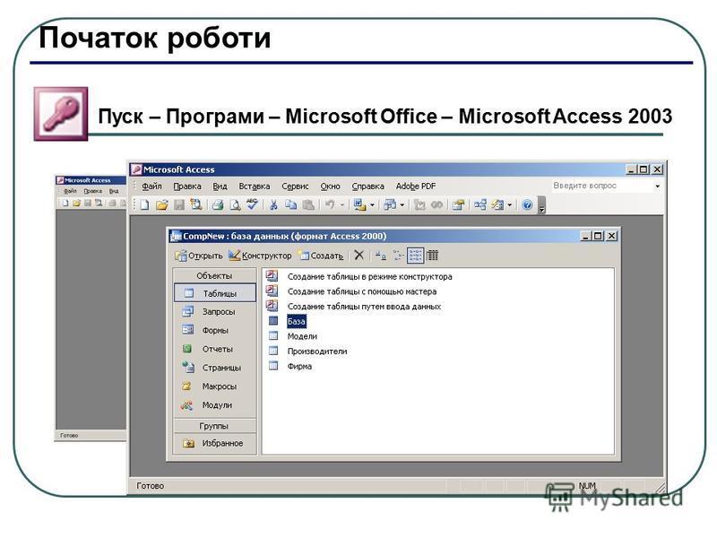 Початок роботи Пуск – Програми – Microsoft Office – Microsoft Access 2003