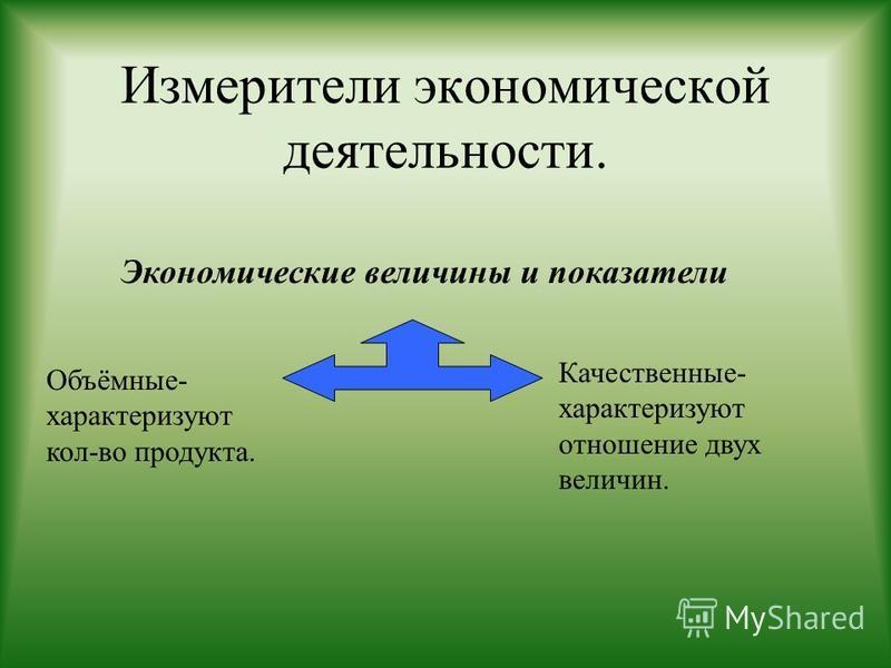 Измерители экономической деятельности. Экономические величины и показатели Объёмные- характеризуют кол-во продукта. Качественные- характеризуют отношение двух величин.