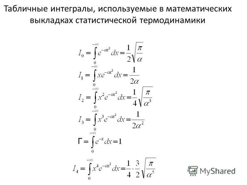Табличные интегралы, используемые в математических выкладках статистической термодинамики