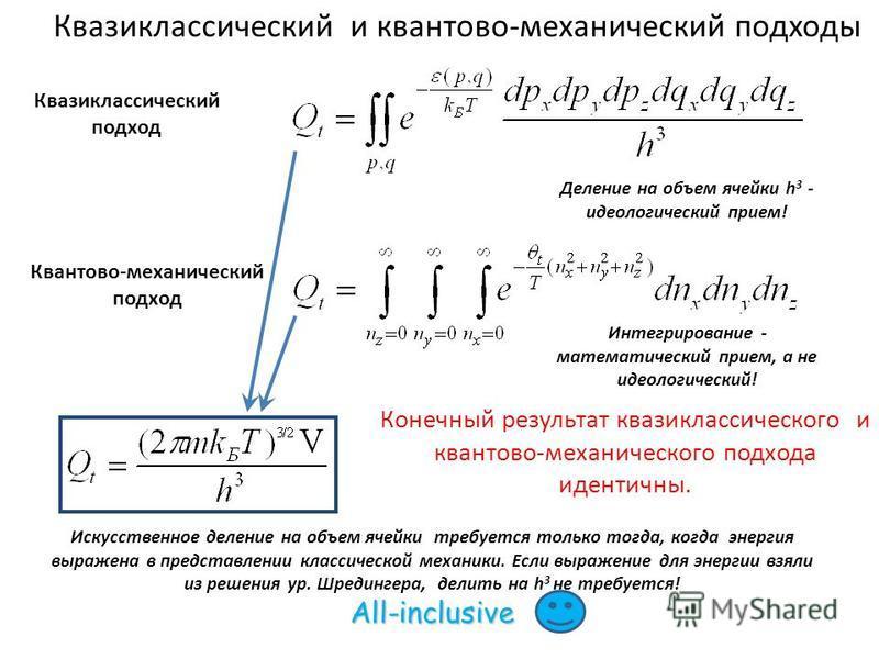 Квазиклассический и квантово-механический подходы Квазиклассический подход Квантово-механический подход Интегрирование - математический прием, а не идеологический! Деление на объем ячейки h 3 - идеологический прием! Конечный результат квазиклассическ