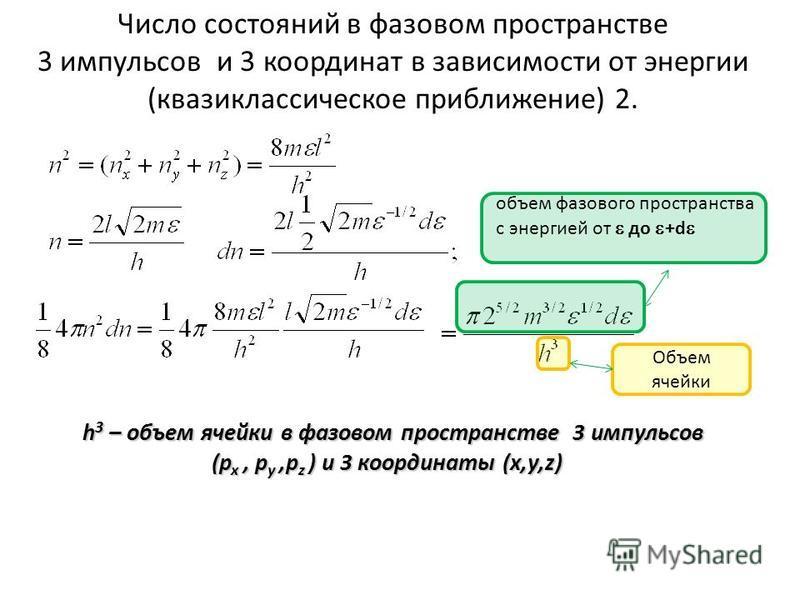 Число состояний в фазовом пространстве 3 импульсов и 3 координат в зависимости от энергии (квазиклассическое приближение) 2. H h 3 – объем ячейки в фазовом пространстве 3 импульсов (p x, p y,p z ) и 3 координаты (x,y,z) H h 3 – объем ячейки в фазовом