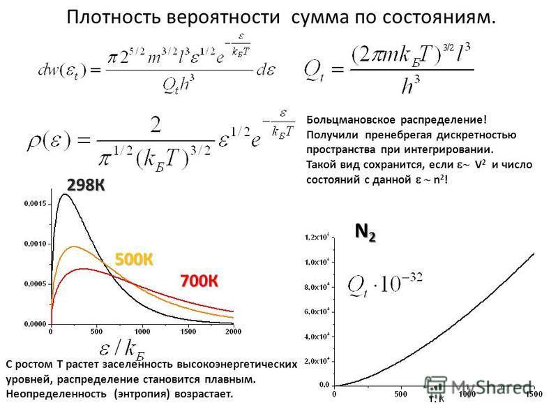Плотность вероятности сумма по состояниям. Больцмановское распределение! Получили пренебрегая дискретностью пространства при интегрировании. Такой вид сохранится, если V 2 и число состояний с данной n 2 ! 500К 298К 700К С ростом Т растет заселенность
