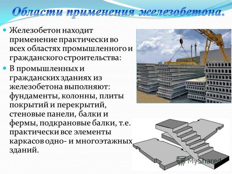 Железобетон находит применение практически во всех областях промышленного и гражданского строительства: В промышленных и гражданских зданиях из железобетона выполняют: фундаменты, колонны, плиты покрытий и перекрытий, стеновые панели, балки и фермы,