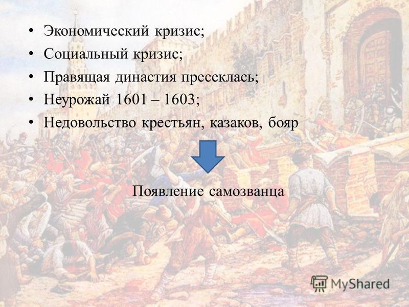 Экономический кризис; Социальный кризис; Правящая династия пресеклась; Неурожай 1601 – 1603; Недовольство крестьян, казаков, бояр Появление самозванца
