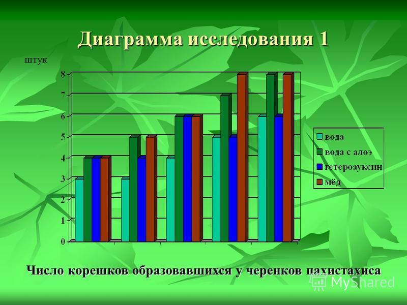Диаграмма исследования 1 Число корешков образовавшихся у черенков пахистахиса штук
