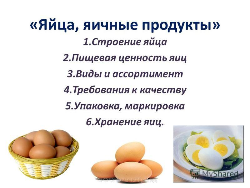 «Яйца, яичные продукты» 1. Строение яйца 2. Пищевая ценность яиц 3. Виды и ассортимент 4. Требования к качеству 5.Упаковка, маркировка 6. Хранение яиц.