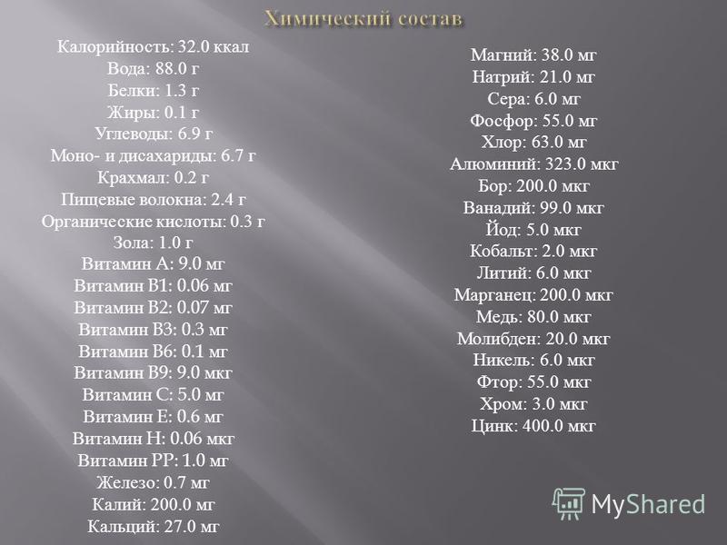 Калорийность: 32.0 ккал Вода: 88.0 г Белки: 1.3 г Жиры: 0.1 г Углеводы: 6.9 г Моно- и дисахариды: 6.7 г Крахмал: 0.2 г Пищевые волокна: 2.4 г Органические кислоты: 0.3 г Зола: 1.0 г Витамин A: 9.0 мг Витамин B1: 0.06 мг Витамин B2: 0.07 мг Витамин B3