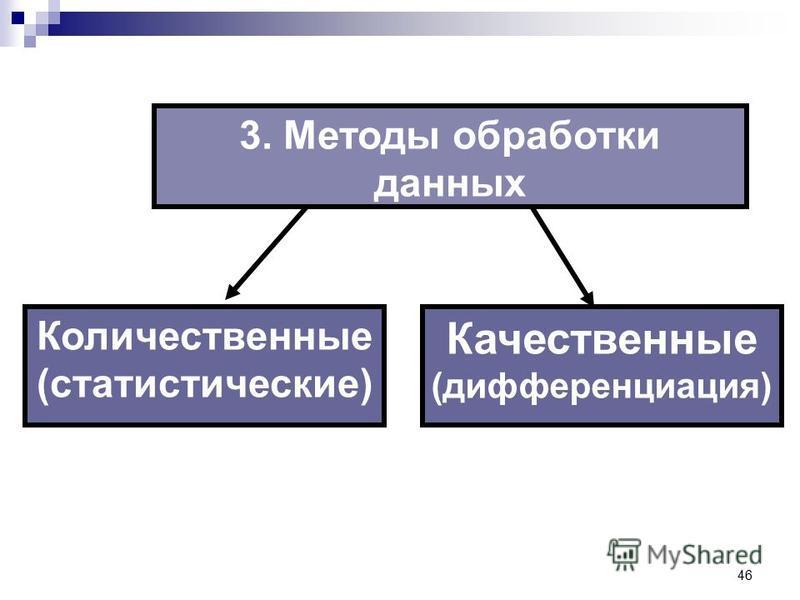 46 3. Методы обработки данных Качественные (дифференциация) Количественные (статистические)