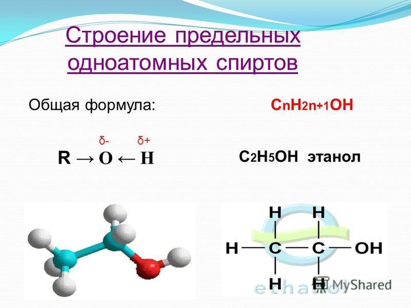 Строение предельных одноатомных спиртов Общая формула:С n H 2 n +1 OH R O H δ- δ+ C 2 H 5 OH этанол