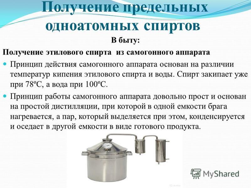 Получение предельных одноатомных спиртов В быту: Получение этилового спирта из самогонного аппарата Принцип действия самогонного аппарата основан на различии температур кипения этилового спирта и воды. Спирт закипает уже при 78ºС, а вода при 100ºС. П