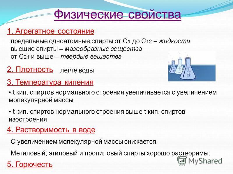 Физические свойства предельные одноатомные спирты от С 1 до С 12 – жидкости высшие спирты – мазеобразные вещества от С 21 и выше – твердые вещества 1. Агрегатное состояние 2. Плотность легче воды 3. Температура кипения t кип. спиртов нормального стро
