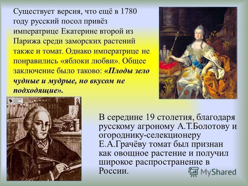 Существует версия, что ещё в 1780 году русский посол привёз императрице Екатерине второй из Парижа среди заморских растений также и томат. Однако императрице не понравились «яблоки любви». Общее заключение было таково: «Плоды зело чудные и мудрые, но