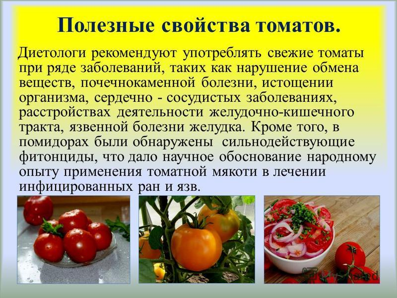 Полезные свойства томатов. Диетологи рекомендуют употреблять свежие томаты при ряде заболеваний, таких как нарушение обмена веществ, почечнокаменной болезни, истощении организма, сердечно - сосудистых заболеваниях, расстройствах деятельности желудочн