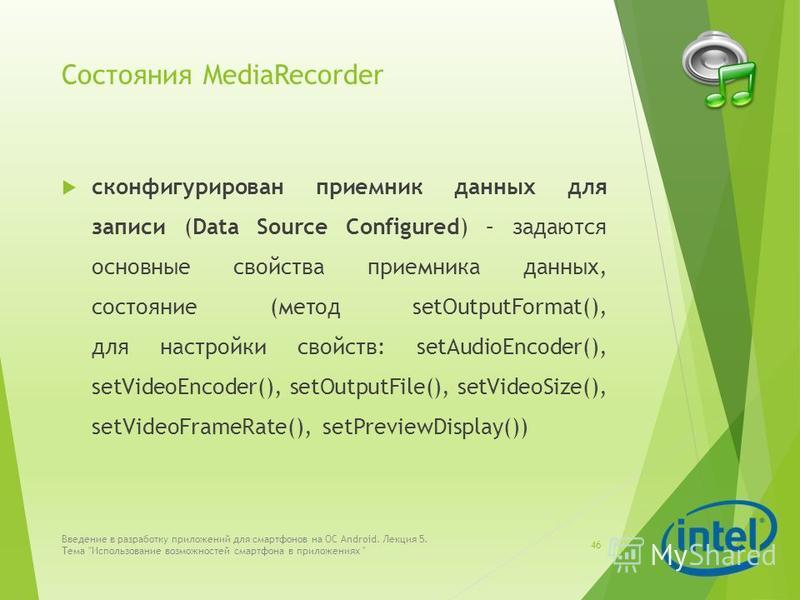 Состояния MediaRecorder сконфигурирован приемник данных для записи (Data Source Configured) – задаются основные свойства приемника данных, состояние (метод setOutputFormat(), для настройки свойств: setAudioEncoder(), setVideoEncoder(), setOutputFile(