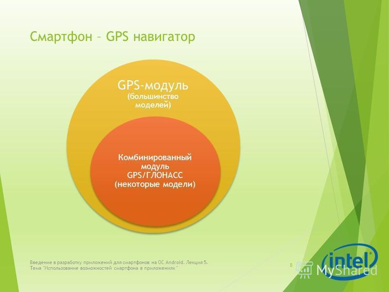 Смартфон – GPS навигатор 8 Введение в разработку приложений для смартфонов на ОС Android. Лекция 5. Тема Использование возможностей смартфона в приложениях  GPS-модуль (большинство моделей) Комбинированный модуль GPS/ГЛОНАСС (некоторые модели)