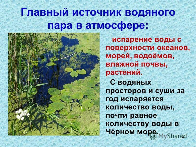 4 Главный источник водяного пара в атмосфере: испарение воды с поверхности океанов, морей, водоёмов, влажной почвы, растений. С водяных просторов и суши за год испаряется количество воды, почти равное количеству воды в Чёрном море.