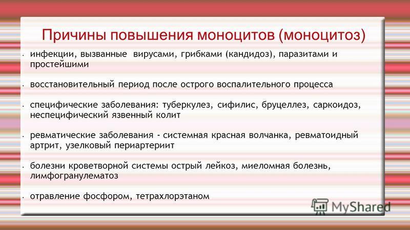 Причины повышения моноцитов (моноцитоз) инфекции, вызванные вирусами, грибками (кандидоз), паразитами и простейшими восстановительный период после острого воспалительного процесса специфические заболевания: туберкулез, сифилис, бруцеллез, саркоидоз,