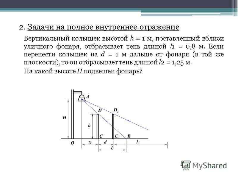 2. Задачи на полное внутреннее отражение Вертикальный колышек высотой h = 1 м, поставленный вблизи уличного фонаря, отбрасывает тень длиной l1 = 0,8 м. Если перенести колышек на d = 1 м дальше от фонаря (в той же плоскости), то он отбрасывает тень дл