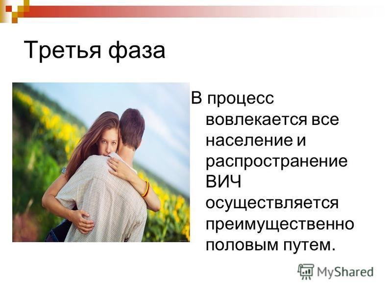 Третья фаза В процесс вовлекается все население и распространение ВИЧ осуществляется преимущественно половым путем.