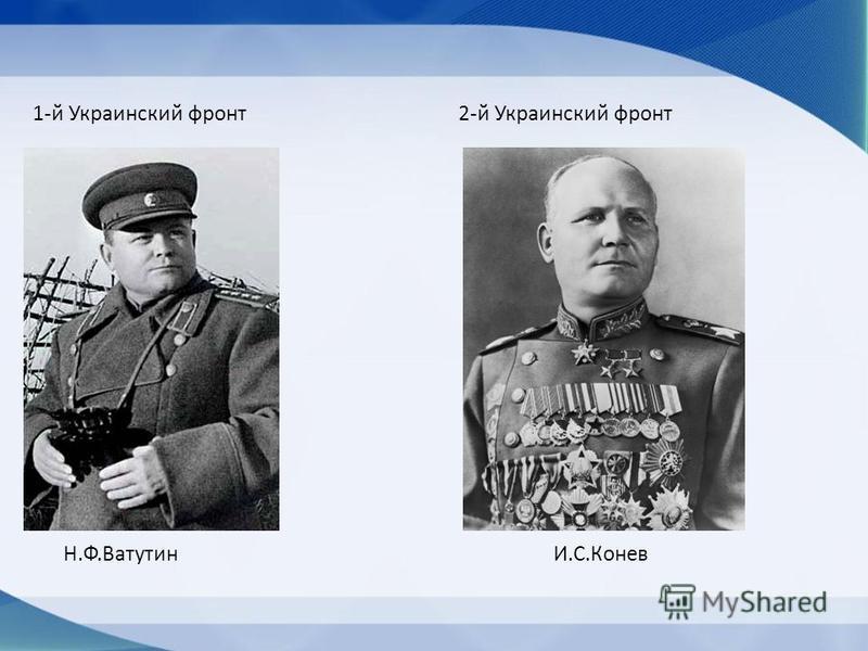 1-й Украинский фронт 2-й Украинский фронт Н.Ф.Ватутин И.С.Конев