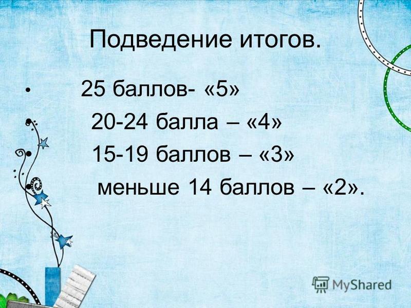 Подведение итогов. 25 баллов- «5» 20-24 балла – «4» 15-19 баллов – «3» меньше 14 баллов – «2».